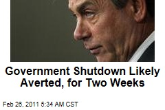 Government Shutdown Likely Averted, for Two Weeks at Least, With John Boehner's Two-Week Budget Measure