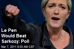 Le Pen Would Beat Sarkozy: Poll