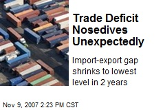 Trade Deficit Nosedives Unexpectedly