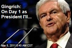 Newt Gingrich Plans First Day as President as Iowa Caucus Season Kicks Off