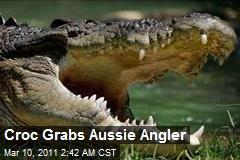 Croc Grabs Aussie Angler
