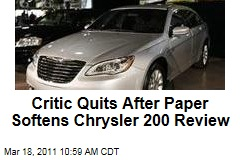 Chrysler 200 Review Softened by 'Detroit News,' Causing Auto Critic Scott Burgess to Resign