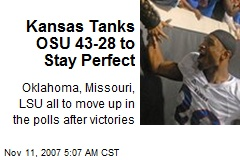 Kansas Tanks OSU 43-28 to Stay Perfect