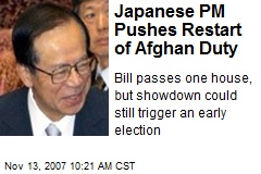 Japanese PM Pushes Restart of Afghan Duty