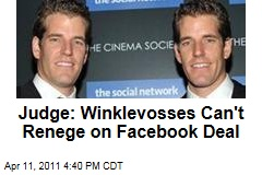 Winklevoss Twins Tyler and Cameron Lose Appeal, Must Stick With Facebook Settlement