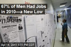 67% of Men Had Jobs in 2010—a New Low