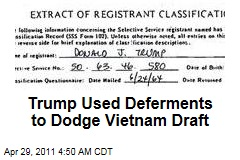 Deferments Helped Donald Trump Dodge Vietnam War