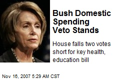 Bush Domestic Spending Veto Stands
