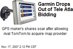 Garmin Drops Out of Tele Atlas Bidding
