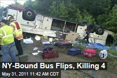 New York Bound Bus Flips, Killing 4