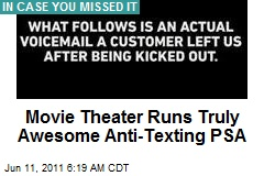 Movie Theater Runs Truly Awesome Anti-Texting PSA
