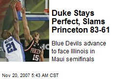 Duke Stays Perfect, Slams Princeton 83-61