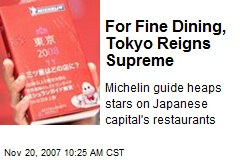 For Fine Dining, Tokyo Reigns Supreme