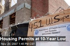 Housing Permits at 10-Year Low