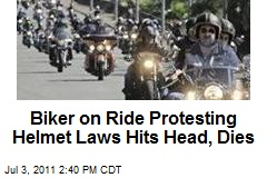Biker on Ride Protesting Helmet Laws Hits Head, Dies