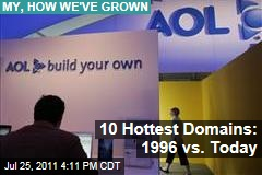 AOL vs. Google: The Ten Most Visited Domains, 1996 vs. 2011