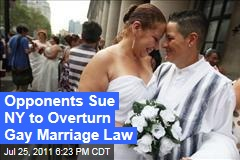 Opponents Sue to Overturn Gay Marriage Law