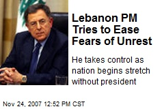 Lebanon PM Tries to Ease Fears of Unrest