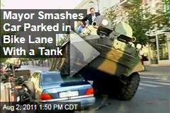 Arturas Zuokas Smashes Mercedes in the Bike Lane With a Tank in Vilnius, Lithuania