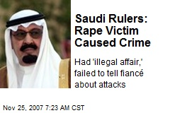 Saudi Rulers: Rape Victim Caused Crime