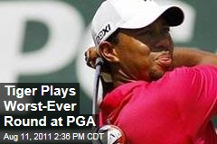 Tiger Woods Plays Worst-Ever Round at PGA Championship