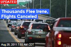 Thousands Flee Irene, Flights Canceled