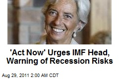 'Act Now' Urges IMF Head, Warning of Recession Risks