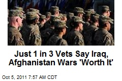 Just 1 in 3 Vets Say Iraq, Afghanistan Wars 'Worth It'