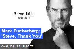 Steve Jobs Dead: Mark Zuckerberg Thanks Him for Being a Friend and Inspiration