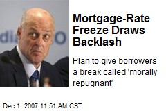 Mortgage-Rate Freeze Draws Backlash