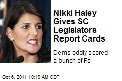 Nikki Haley Gives SC Legislators Report Cards
