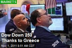 Dow Down 253 Thanks to Greece