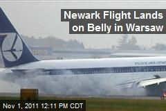 Newark Flight Lands on Belly in Warsaw