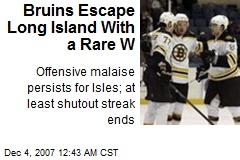 Bruins Escape Long Island With a Rare W