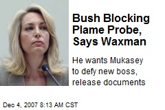 Bush Blocking Plame Probe, Says Waxman
