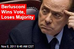 Berlusconi Wins Vote, Loses Majority