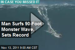 Man Surfs 90-Foot Monster Wave, Sets Record
