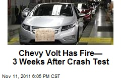 Chevy Volt Has Fire— 3 Weeks After Crash Test