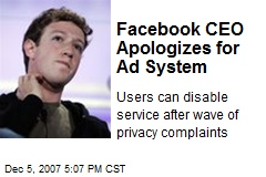 Facebook CEO Apologizes for Ad System
