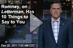 Mitt Romney Does Top 10 on Late Show With David Letterman