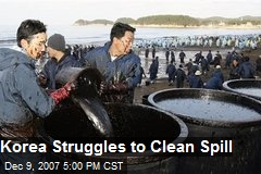 Korea Struggles to Clean Spill