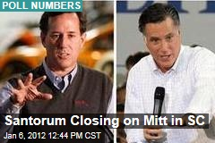South Carolina Poll Has Mitt Romney Ahead of Rick Santorum by Three Points