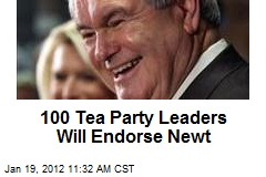 100 Tea Party Leaders Will Endorse Newt