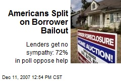 Americans Split on Borrower Bailout