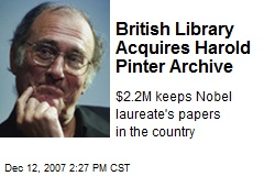 British Library Acquires Harold Pinter Archive
