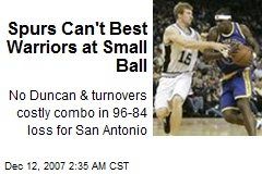 Spurs Can't Best Warriors at Small Ball