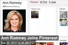 Ann Romney Joins Pinterest