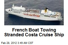 French Boat Towing Stranded Costa Cruise Ship