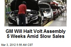 GM Will Halt Volt Assembly 5 Weeks Amid Slow Sales