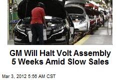 GM Will Halt Volt Assembly 5 Weeks Amid Slow Sales
